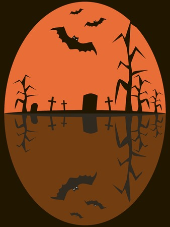 hellish: Halloween picture of bats with glowing evil eyes flying over sinister cemetery. Gravestones, rickety crosses and dead trees. Eerie background in black, white and orange colors. Vector illustration