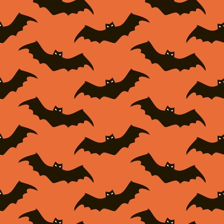 evil eyes: Seamless Halloween pattern of spooky bats with glowing evil eyes. Eerie background in black, white and orange colors. Vector illustration for various creative projects Illustration