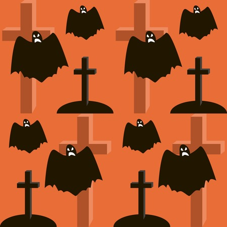 eerie: Seamless Halloween pattern of flying evil ghosts, graves and crosses. Eerie background in black, white and orange colors. Vector illustration