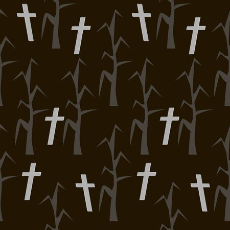 Forest of dead trees and rickety crosses glowing in the night. Seamless Halloween pattern. Eerie background in black and gray colors. Vector illustration Illustration