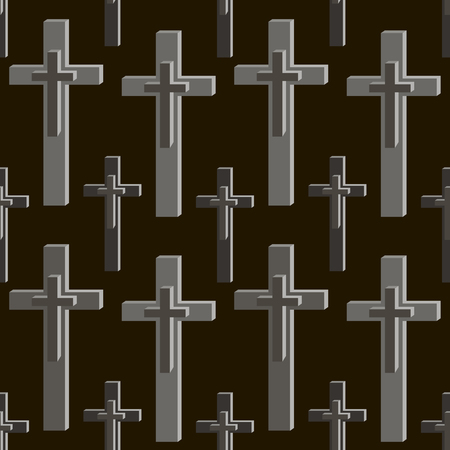 obituary: Seamless pattern of crosses in black and gray colors. Vector illustration Illustration
