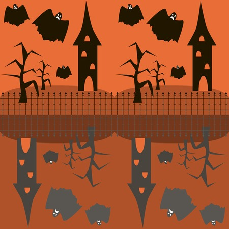 gnarled: Seamless Halloween pattern of evil ghosts flying around the towers and dead trees. Abandoned sinister houses behind wrought iron fence on the hills. Eerie background. Vector illustration Illustration
