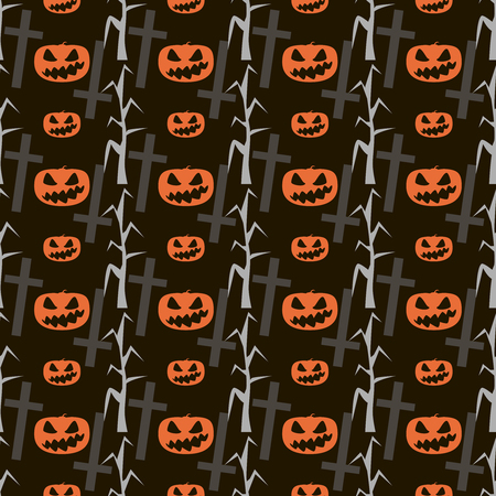 Seamless Halloween pattern of evil wickedly grinning pumpkins, dead trees and crosses. Eerie background in black, orange and gray colors. Vector illustration