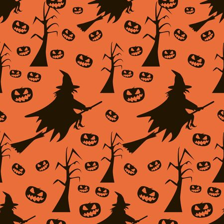 Seamless Halloween pattern of witches flying on broomsticks, evil demonic pumpkins and dead trees with gnarled branches. Eerie background in black and orange colors. Vector illustration