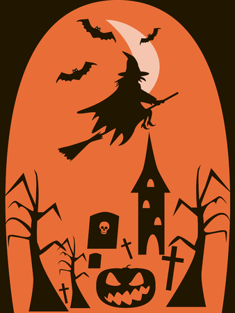 Halloween background of witch on broomstick and evil bats flying in the night over the graves. Creepy dead trees, demonic pumpkin, abandoned tower and rickety crosses. Vector illustration