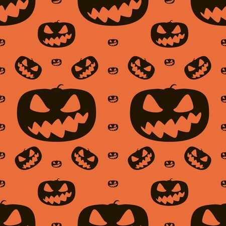 hellish: Seamless Halloween pattern of wickedly grinning pumpkins. Eerie background in black and orange colors. Vector illustration for various creative projects
