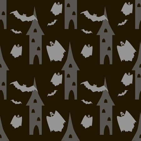 hellish: Seamless Halloween pattern of bats and ghosts flying around the towers. Eerie background in black and gray colors. Vector illustration Illustration