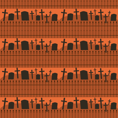 Seamless Halloween pattern of cemetery in black and orange colors. Gloomy eerie background. Vector illustration for various creative projects Vektoros illusztráció