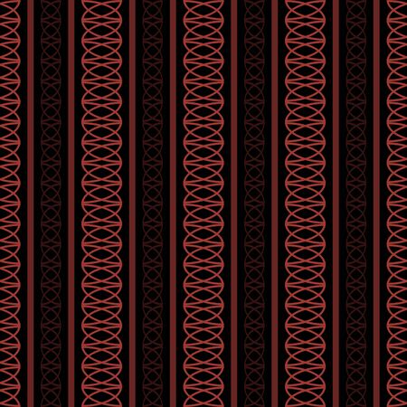 roundish: Seamless pattern of vertical stripes and roundish geometric elements in black and red colors. Vector illustration for fabric, wallpaper and other Illustration