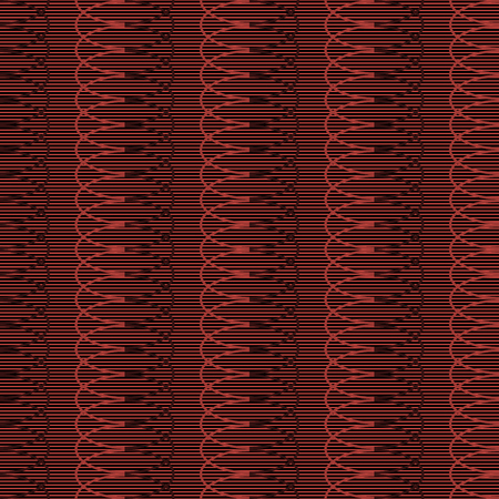 entangled: Seamless pattern of horizontal parallel straight lines and multiply repeating elliptical shapes. Entangled geometric ornament in black and red colors. Vector illustration for fabric, paper and other Illustration