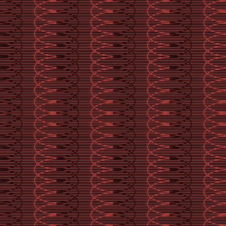 multiplicar: sin patrón de líneas rectas paralelas horizontales y multiplican la repetición de formas elípticas. ornamento geométrico enredarse en colores negro y rojo. Ilustración del vector para la tela, papel y otros Vectores