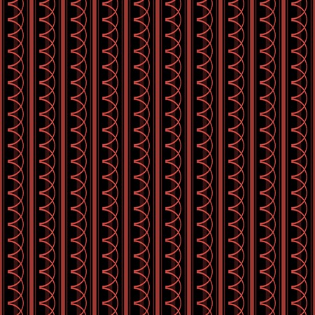 Seamless pattern with vertical stripes of varying widths and repeating arched elements. Elegant geometric ornament in black and red colors. Vector illustration for fabric, wallpaper and other