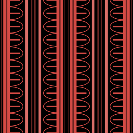 Elegant seamless pattern with vertical stripes of varying widths and arched elements. Geometric ornament in black and red colors. Vector illustration for modern design