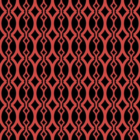 roundish: Elegant seamless pattern of roundish X-shaped elements in black and red colors. Beautiful ornament with graceful rhomboid figures. Vector illustration for fabric, paper and other