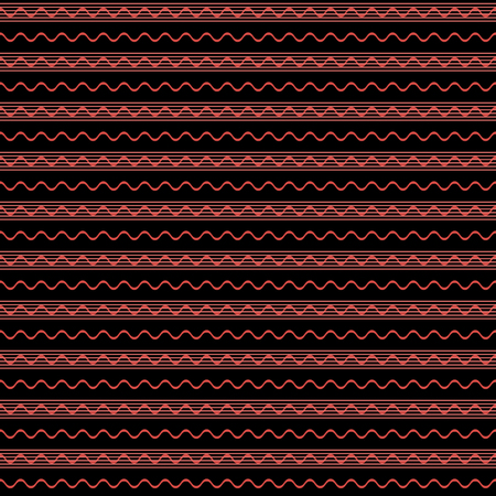 Abstract seamless pattern of horizontal parallel straight and wavy lines. Simple geometric print in black and red colors. Vector illustration for fabric, paper and other
