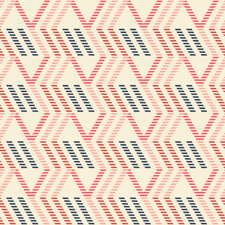 flexed: Abstract seamless geometric pattern of vertical zigzag and parallelogram shapes. Striped figures in red, blue, pink colors.