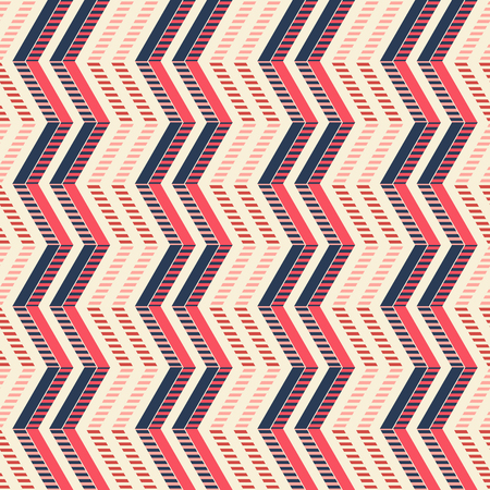 in flexed: Abstract seamless geometric pattern of vertical zigzag with stylish striped lines in pleasant color palette.