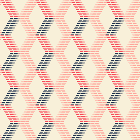 in flexed: Abstract seamless geometric pattern of crossing vertical zigzag lines forming rhomboid shapes. Striped figures in pleasant retro color palette.
