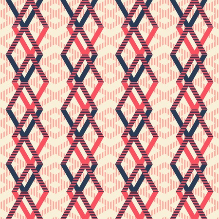 flexed: Abstract seamless geometric pattern of intertwined rhomboid shapes. Striped figures in pleasant retro color palette.
