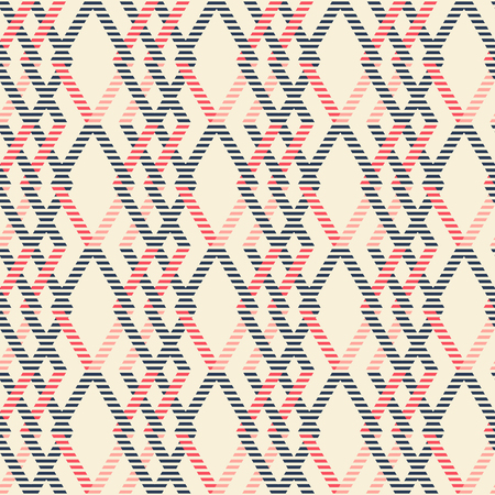 brindled: Abstract seamless geometric pattern of intertwined rhomboid shapes with striped lines. Marine theme print in red, blue, pink colors. Illustration