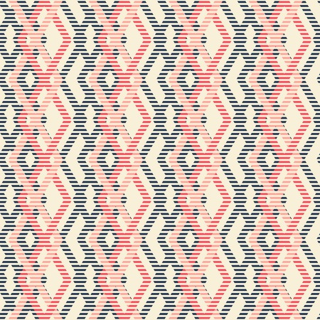 pleasant: Abstract seamless geometric pattern of intertwined rhomboid shapes. Striped figures in pleasant retro color palette.
