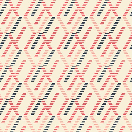 discontinuous: Abstract seamless geometric pattern of vertical zigzag lines and overlapping segments. Striped figures in pleasant retro color palette. Illustration