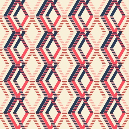 crankle: Abstract seamless geometric pattern of intertwined rhomboid shapes. Striped figures in pleasant retro color palette. Marine theme.