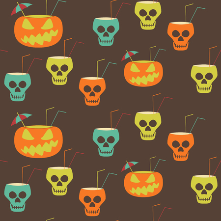 hellish: Halloween party seamless pattern. Evil pumpkins and skulls with drinking straws and cocktail umbrellas. Illustration