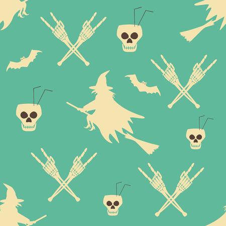 Hell Halloween party seamless pattern. Walpurgis Night. Human skulls as goblets with drinking straws, skeleton hands in rock n roll gesture, bats and witches flying on broomsticks
