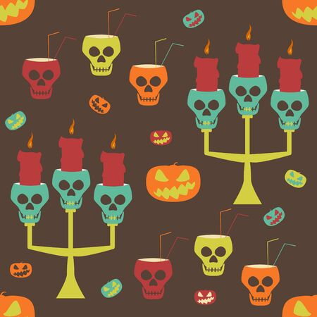 smirk: Halloween party seamless pattern. Evil pumpkins, human skulls as candlesticks and goblets with drinking straws. Crazy variegated vector illustration for festive design
