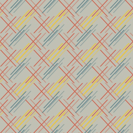 oblique: Abstract seamless pattern of oblique segments. Geometric print of short diagonal lines in red, blue, yellow, gray colors. Vector illustration for backgrounds, fabric, paper and other