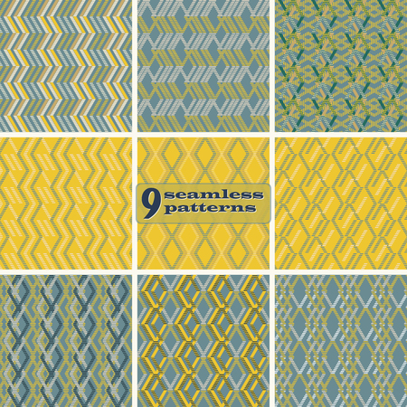 brindled: Set of 9 abstract geometric seamless patterns. Zigzag, rhomboid, parallelogram shapes of striped wide lines in yellow, blue, sand colors.