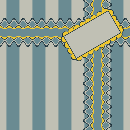 noble: Gift design with ribbon and decorated rectangular greeting card on elegant striped background. Seamless illustration in noble retro color palette