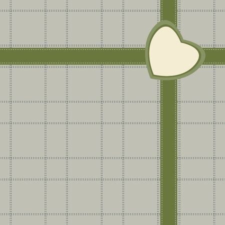 restrained: Elegant gift design with ribbon and small heart-shaped greeting card on stitched wrapping. Seamless illustration in restrained retro color palette - green, gray, pastel yellow