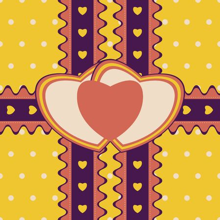 stitched: Romantic gift design with two stitched ribbons and double heart-shaped greeting card on cute polka dot background. Seamless illustration in bright retro color palette Illustration