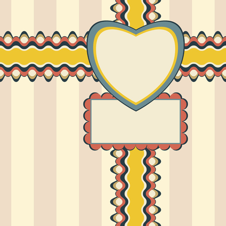 Congratulatory design with ribbon, heart-shaped and rectangular greeting card on elegant striped background. Seamless illustration in pleasant retro color palette