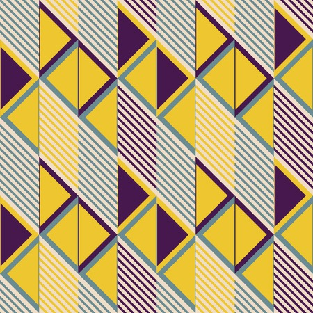 filled: Abstract seamless pattern in retro colors. Parallelogram tiles filled with diagonal lines alternate with ones filled with triangles. Stylish geometric print. Vector illustration for modern design Illustration