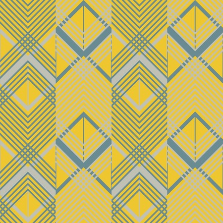 in flexed: Seamless geometric pattern in pleasant retro color palette. Giant horizontal zigzag and lattice of intersecting chevron lines. Stylish print of wide multicolored vertical stripes Illustration