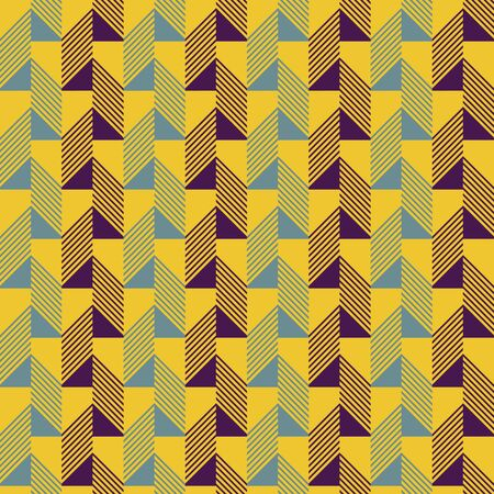 beveled corners: Abstract seamless pattern in contrasting retro color palette. Narrow rectangular tiles with triangles and diagonal lines inside. Vector illustration for various creative projects Illustration