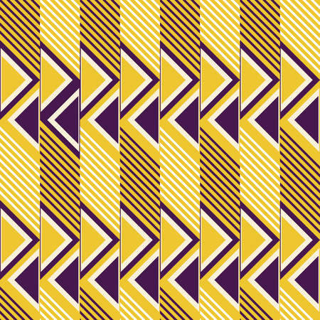Abstract seamless pattern of diagonal lines and triangles. Geometric print in contrasting retro color palette. Vector illustration for fabric, paper and other