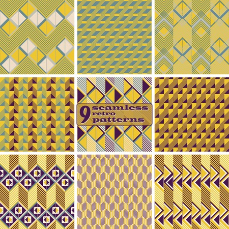 flexed: Set of 9 seamless retro patterns. Beautiful graphic prints with zigzags, squares, triangles, diagonal lines. Abstract geometric ornaments in vintage colors. Vector illustration for stylish design