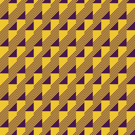 narrow: Abstract seamless pattern in contrasting two-color retro color palette. Narrow rectangular tiles with triangles and diagonal lines inside. Vector illustration for fabric, paper and other
