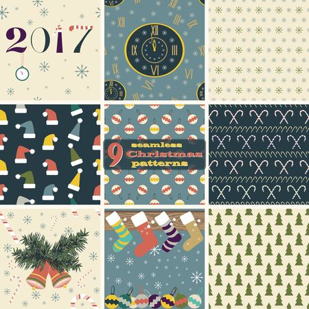 mantel: Set of seamless Christmas and New Year patterns. Clock, snowflakes, Christmas trees, balls, bells, Santa hats, candy canes, Christmas stockings hanging on mantel. Festive design vector illustrations Illustration