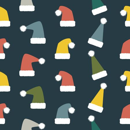 variegated: Seamless Christmas and New Year pattern of droll Santa hats. Variegated festive winter background. Vector illustration for various creative projects