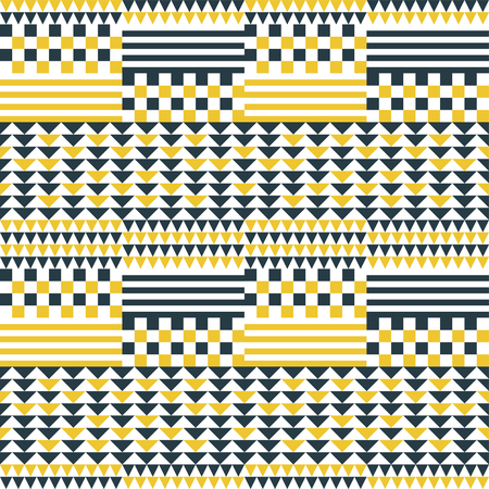 Abstract geometric seamless patchwork pattern. Multielement graphic print with squares, strips and triangles. Vector illustration for various creative projects Illustration