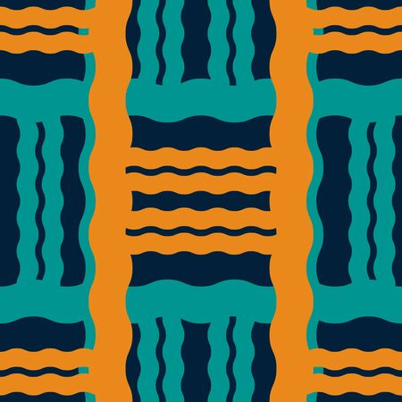 Seamless geometric pattern of thick wavy lines. Abstract print in vintage colors Illustration