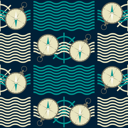 complex navigation: Seamless nautical pattern with waves, ship steering wheels and compasses. Marine theme vector print in retro color palette Illustration