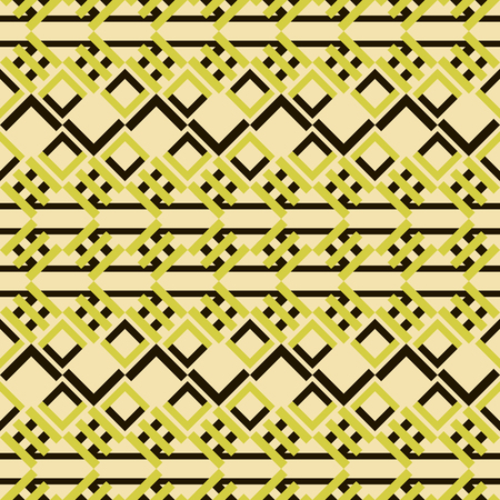 Abstract seamless geometric pattern of small square lattices and colored V-shaped elements forming squares and zigzags