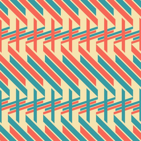 Abstract seamless geometric pattern of blue and red thick diagonal and horizontal stripes, retro color palette