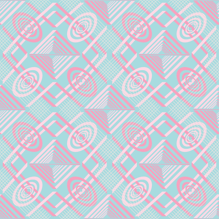 Seamless abstract pattern of rectangular and rounded geometric elements in pastel blue and pink colors